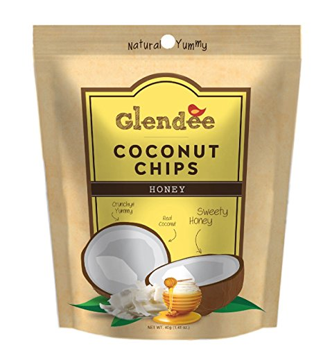 Glendee Toasted Coconut Chips,Honey, 1.41 Ounce Bags