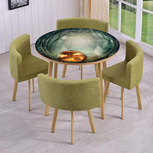 iPrint Round Table/Wall/Floor Decal Strikers,Removable,Scary Halloween Pumpkin Enchanted Forest Mystic Twilight Party Art,for Living Room,Kitchens,Office Decoration -