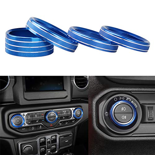 YOCTM for Jeep Wrangler JL 2018 Parts Accessories Blue Interior Styling Car Headlight Air Conditioning Switch Knob Button Decoration Cover Ring Trim (Pack of 4)