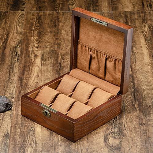 VIDOO 6 Steckplätze Massivholz Holz Display Uhrenbox Gehäuse Brust Aufbewahrungsbox Desktop Organizer mit Schloss - Square