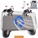 Mobile Controller with Power Bank Cooling Fan for Fortnite Mobile Controller L1R1 Game Trigger Joystick Gamepad Grip Remote for 4-6.5'' Android IOS Phone【Latest Version Blue Light 4000mAh】