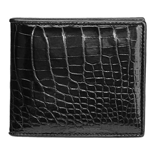 CHERRY CHICK Men's Luxury Crocodile Skin Wallet Genuine Alligator Leather Billfold Hot Gift (Black-Belly-Horizontal)