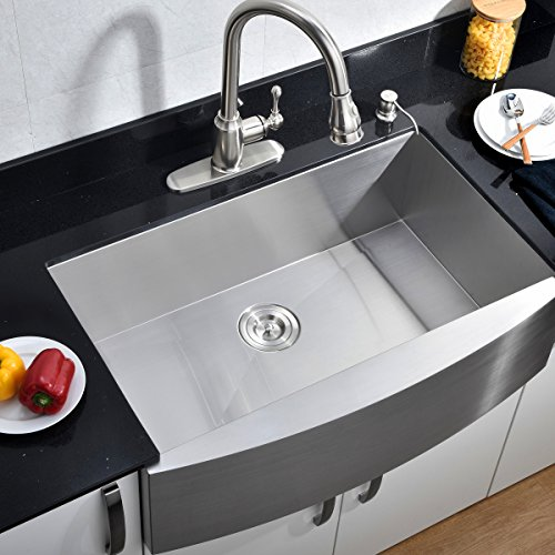 Commercial 33-inch Farmhouse Apron Undermount Handmade Single Bowl Stainless Steel Kitchen Sink, 16 Gauge 304 Stainless Steel Satin Brushed Finished Kitchen Sinks By VCCUCINE
