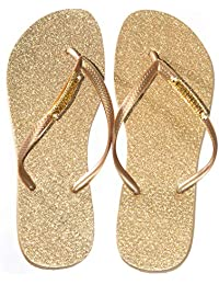 Chinelo Luxo Tropical Joy Gliter Dourado