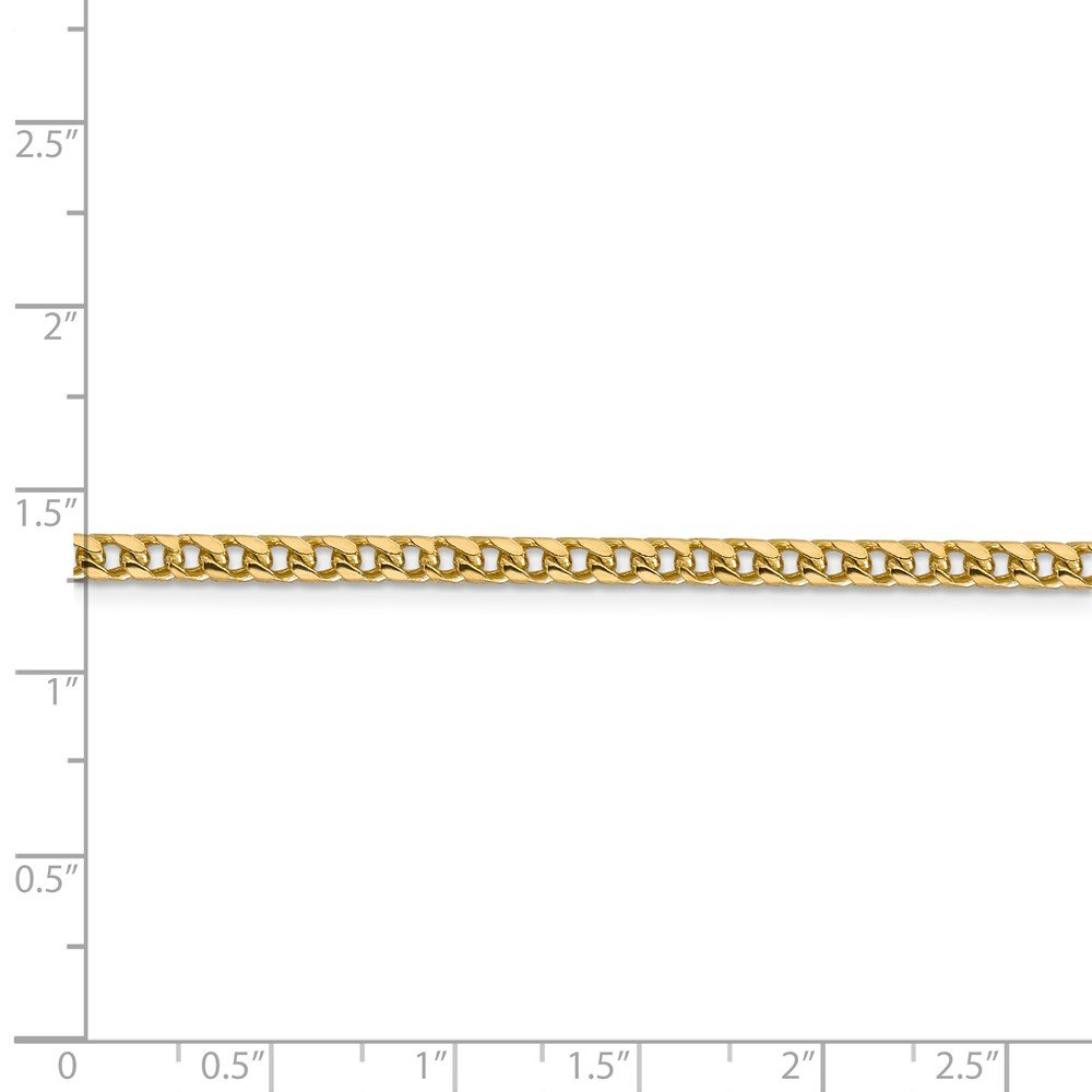 14k Solid Yellow Gold 3mm Franco Anklet Bracelet -9'' (9in x 3mm) by Unknown (Image #2)
