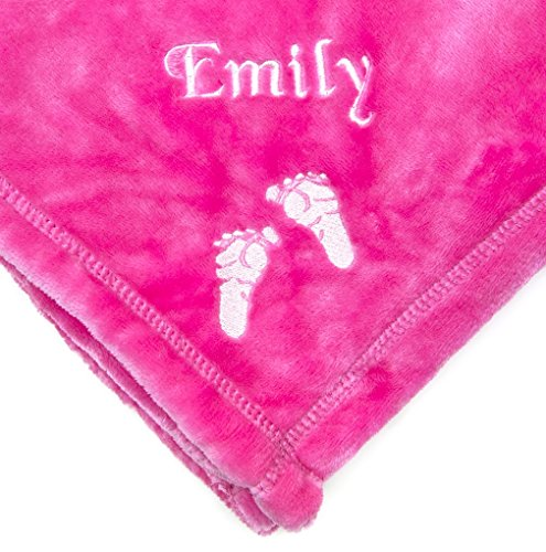 PERSONALIZED Monogrammed Embroidered BABY FEET Tahoe Fleece Blanket~ Make it Special! (Hot Pink) (Personalized Fleece Blanket)