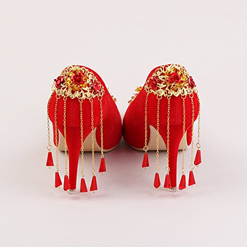 Dress 8Cm Female Tassel Prom Autumn Heeled Red Suede Flowers Fringed High Sandals Shoes Shoes Heel Golden Tip Bride 7 Wedding 5 VIVIOO Shoes Shoes 7TxnRfRH