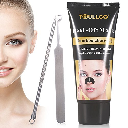 Blackhead Remover Black Mask, Purifying Acne Face Peel Off Black Mud Mask, Deep Cleansing Nose Acne Treatment Oil Control Natural Charcoal Mask (60g+tools) (Mud Mask Cleansing Volcanic Deep)