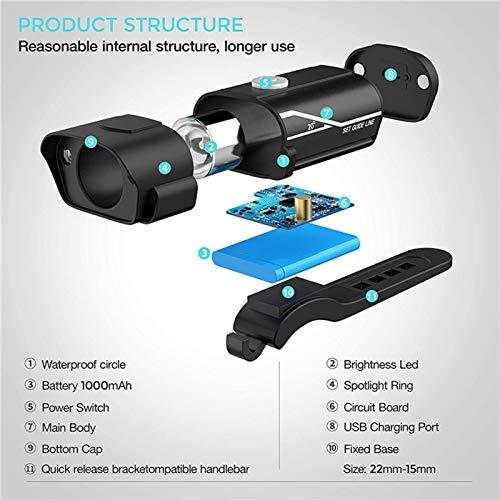 mewmewcat Conjunto de faróis e luzes traseiras recarregáveis USB Super Bike tempo de execução de mais de 10 horas 600…