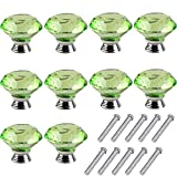 Mosong 10pcs 40mm Glass Clear Cabinet Knob Drawer Pull Handle Kitchen Door Wardrobe Hardware Used Cabinet, Drawer, Chest, Bin, Dresser, Cupboard, Etc (Green)