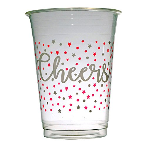 - Cheers Compostable Clear Cold Drink Cups, Red & White Eco Friendly Disposable Party Drinkware - 50ct 16oz