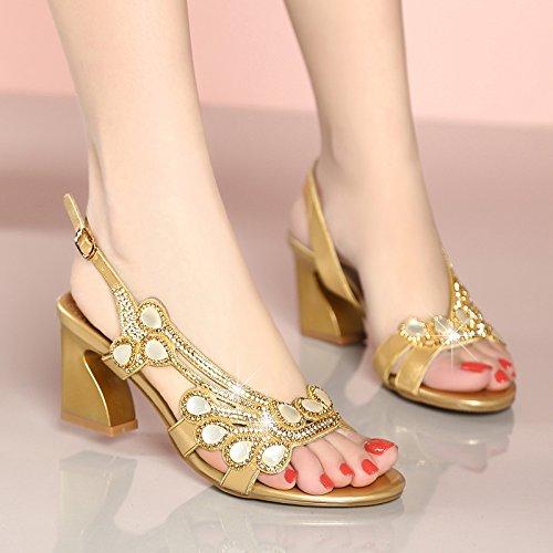 GTVERNH Diamante Sandalias Verano Bohemia 7 Cm De Tacon Alto Skid Rough Talon Cristal Zapatos Para Señoras. Golden