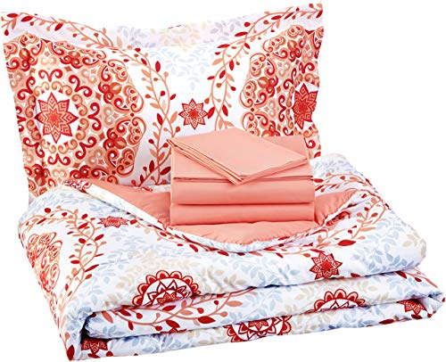 AmazonBasics 5-Piece Bed-In-A-Bag - Twin/Twin Extra-Long, Coral Medallion (Renewed)