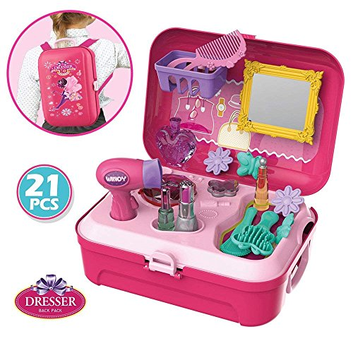 (WenToyce Pretend Play Make up Kit Little Girls Dress-up Fake Cosmetic Set with Storage Backpack Box-No Mess Kids Beauty Salon)