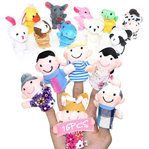 HOFASON 16PCS Tiny Finger Puppets Plush Cloth Toy, Velvet Cute Mini Animal and Family Member Style Dolls Props Toys for Baby, Bed Story Telling, Children, Shows, Playtime, Schools