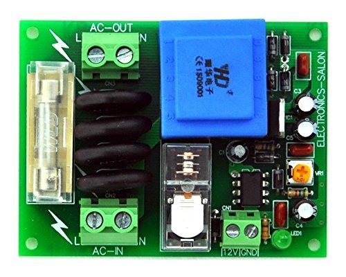 (Electronics-Salon 115Vac Mains Power ON Delay Soft-start Protection Module, with 12 Vdc Regulator.)