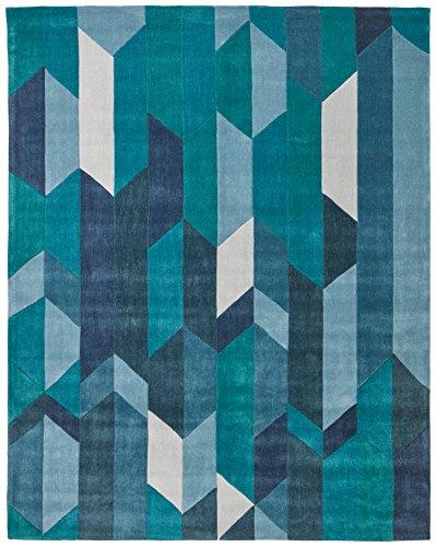 Rivet Geometric Color Blocking Rug, 7'6'' x 9'6'', Blue by Rivet