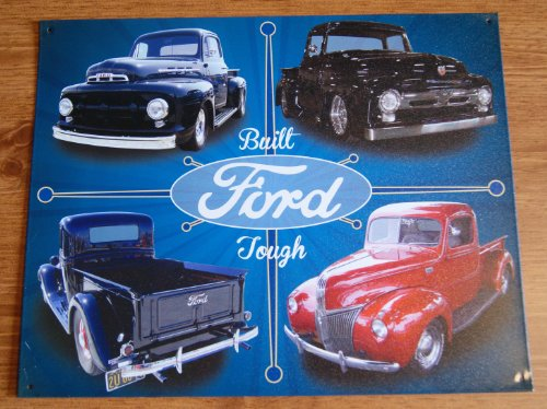 Classic F100 Ford Trucks Tin Sign..Built Ford Tough Pics Featuring 4 Trucks