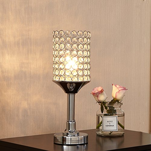 Glanzhaus Elegant Style Decorative Nightstand Clear Crystal Silver Table Lamp, Desk Lamps for Bedroom Living Room Kitchen Dining (Crystal Living Room Table)