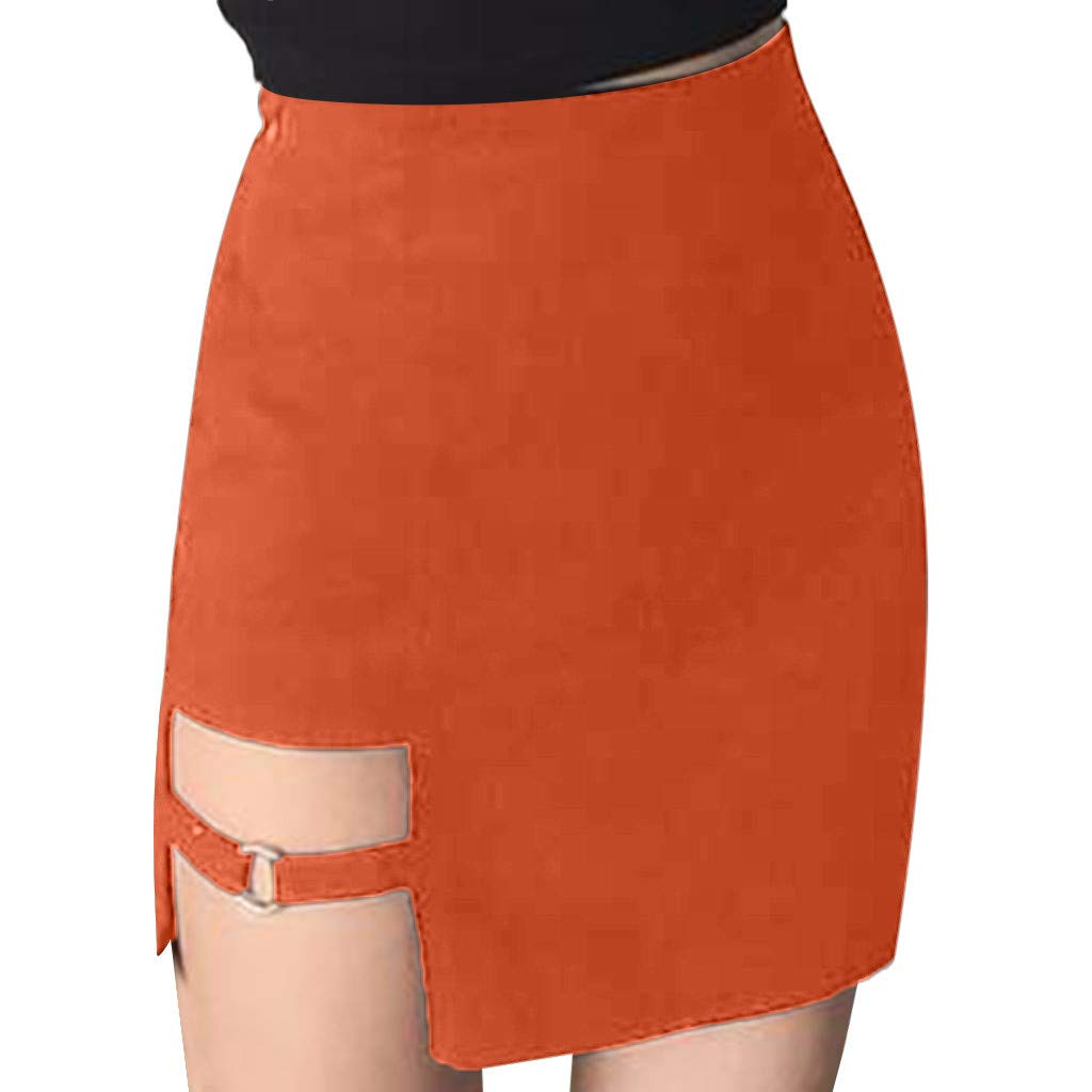 Women Pencil Mini Skirt Sexy Solid Color Hollow Out Classic Skirts (L, Orange)