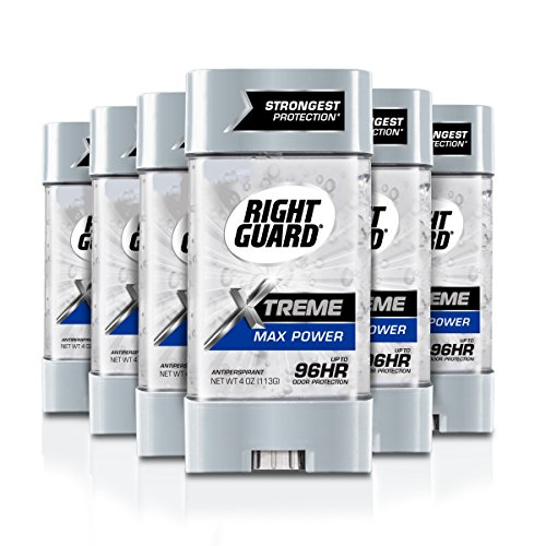 Right Guard Xtreme Antiperspirant Max Power Deodorant Gel, 4 Ounce (Pack of 6) (Gel Max)
