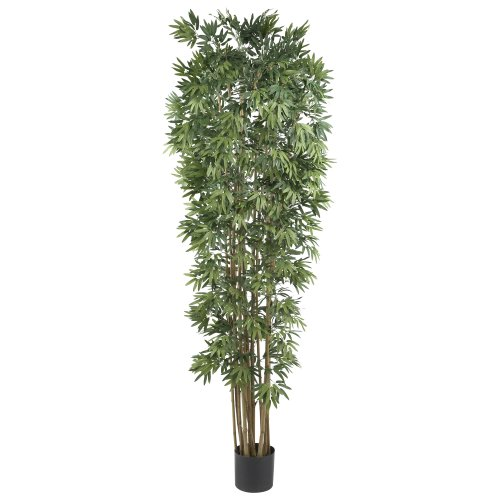 Nearly Natural 5050-NT Bamboo Japonica Silk Tree, 7-Feet, Green 7' Round Plastic Pot