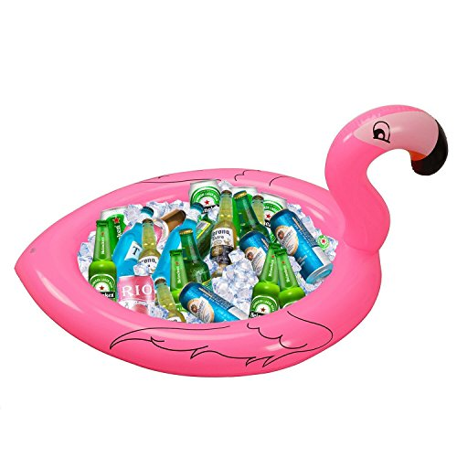 Inflatable Flamingo Cooler Salad Buffet Serving Bar Tray Ice Chest Drink Holders for BBQ Picnic Pool Flamingo Beach Hawaiian Luau Party Supplies Decorations