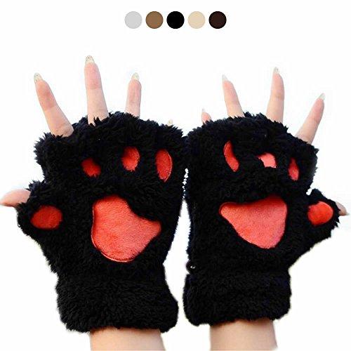 負担ランドマーク警報AStorePlus Cartoon Cute Bear Plush Cat Paw Clawグローブソフト冬ふわふわ半指手袋、手洗濯SwipeレザーWarmerミトン、子供レディースアニメCoplayハロウィングローブ