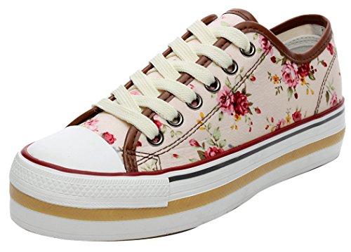 XIAXIAN Simple Design Robber Sole Platform Lace-up Shoes(5 B(M) US, Beigeflower)