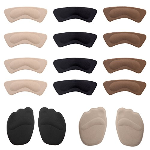 Multi Colored High Heel (Senkary Heel Pads Cushions (16 Pcs), High Heel Grip Liners Shoe Insole Stickers Forefoot Cushion Pads)