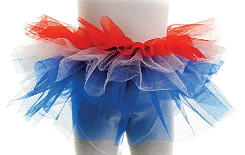 Underwraps Big Girl's Underwraps Girl's Multicolored Tutu - Fourth of July, OS Childrens Costume, red/white/blue, One Size