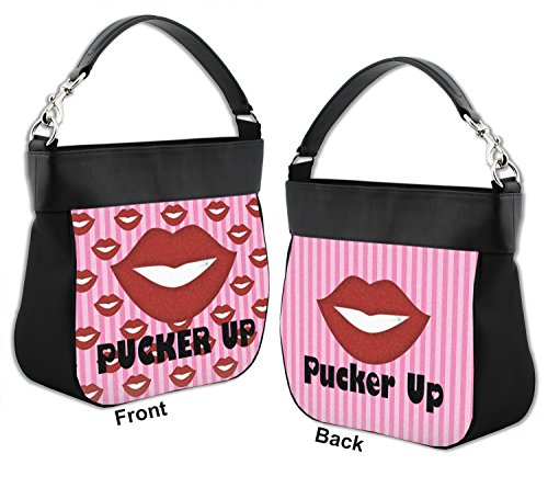 Pucker Hobo Front Genuine Up amp; Leather w Trim Purse Lips Back 7qdRxax