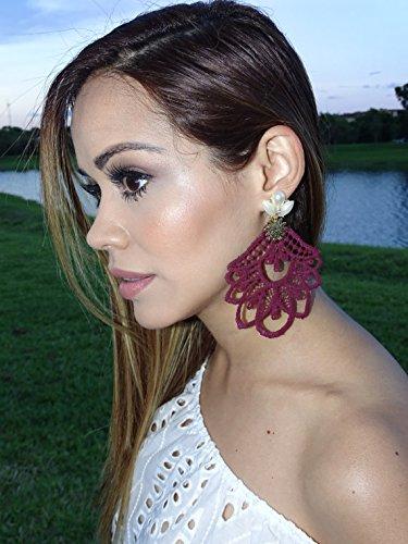 3bb8bd994d096 Amazon.com: Burgundy Chandelier Earrings, Big Earrings, Lace ...