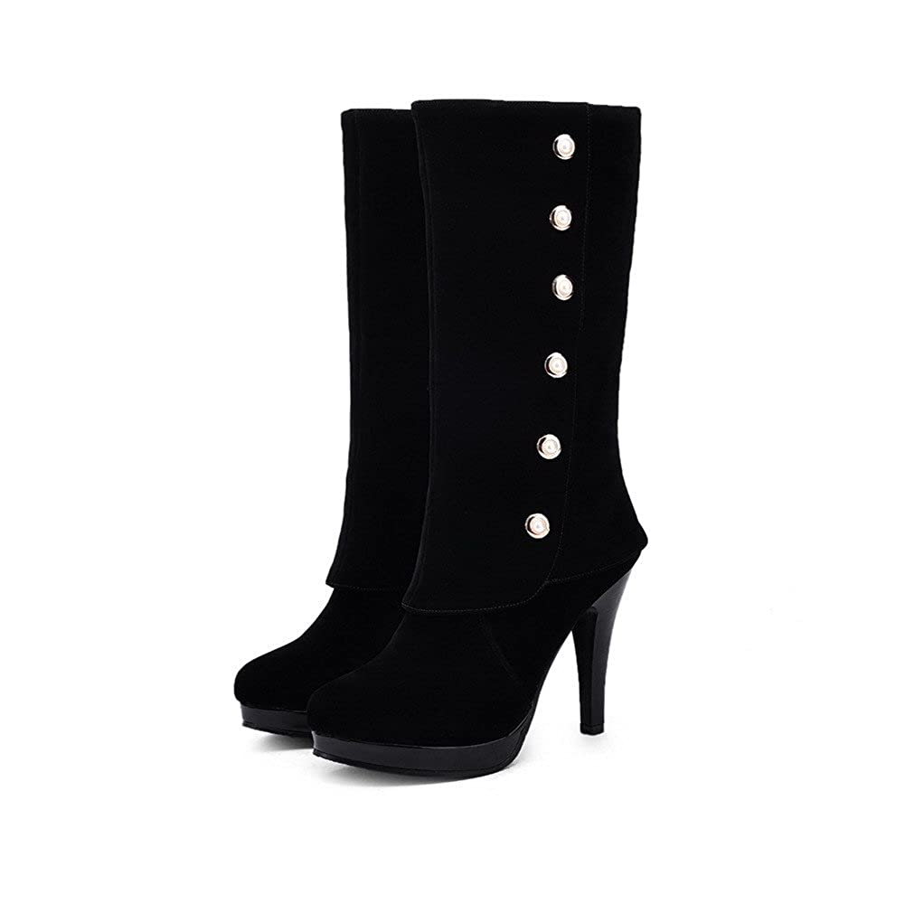 WeenFashion Pull-on Women's High-Heels Solid Round Closed Toe Frosted Pull-on WeenFashion Boots B01LXCAGC2 Platform 3c9832