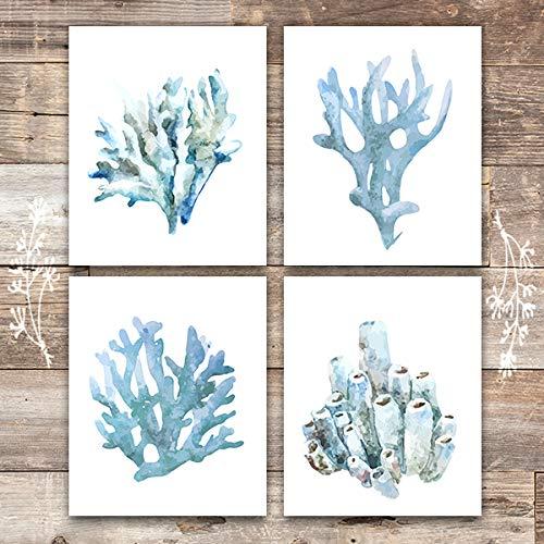 Beach Wall Decor Art Prints (Set of 4) - Unframed - 8x10s | Coral ()