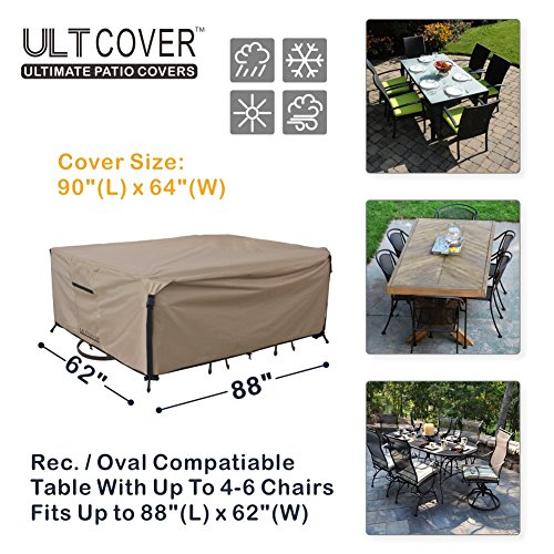 Rectangular/Oval Patio Heavy Duty Table Cover 600D Tough Canvas 100% Waterproof & UV-resistant Outdoor Dining Table Chair Set Cover Size 88L x 62W x 28H inch
