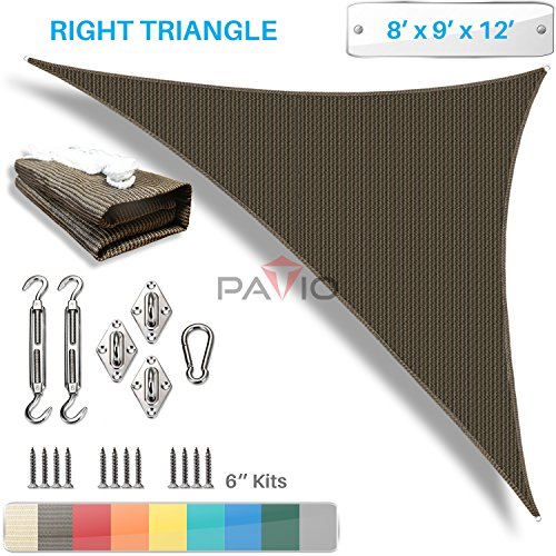 Patio Paradise 8' x 9' x 12' Sun Shade Sail with 6 inch Hardware Kit, Brown Right Triangle Canopy Durable Shade Fabric Outdoor UV Shelter - 3 Year Warranty - Custom