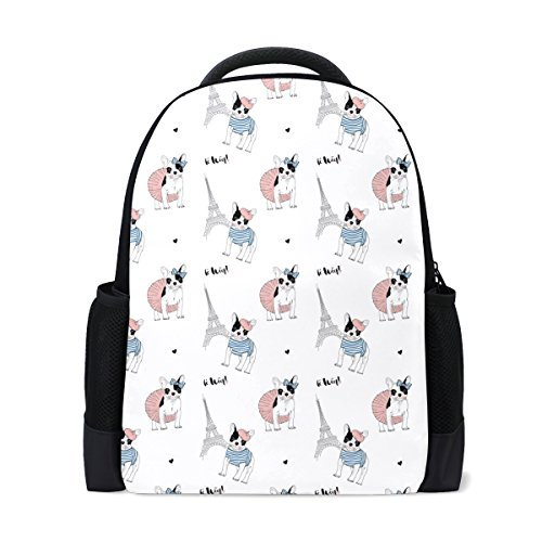 LORVIES French Bulldog Paris Pattern School Backpack Casual Daypack Travel Laptop Backpack - Paris Laptop Carrying Backpack