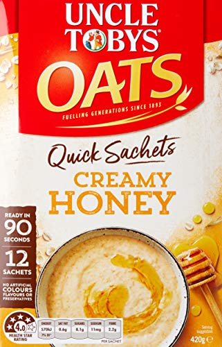 Uncle Toby s Oats, 12 Quick Sachets, Creamy Honey, Ready In 90 Seconds