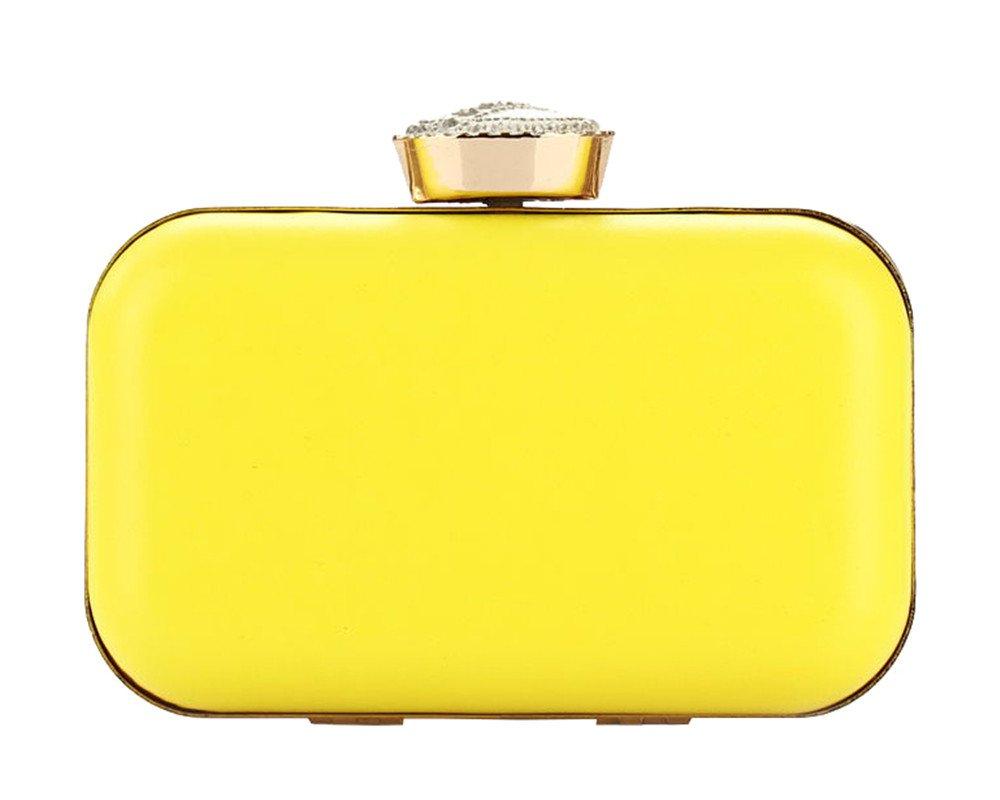 Women's Bright Color PU Leather Hardbox Clutch Big Rhinestone Top Mini Wedding Prom Purse Bag(Yellow)