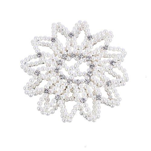 Ballet Bun Covers (Elastic handmade crochet pearl hair Snood Net Ballet Bun Hair Covers Ornament)