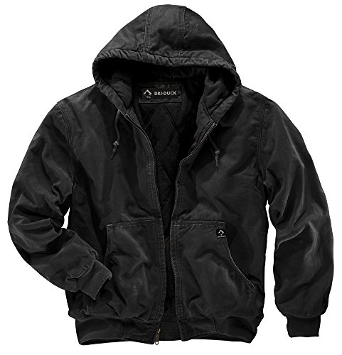 Waist Nylon Knit Shirt - DRI Duck Men's 5020 Cheyenne Hooded Work Jacket, Black, Large