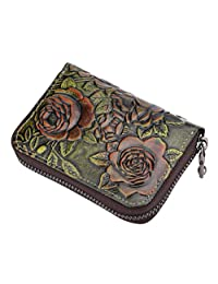 Fmeida Leather Credit Card Holder Womens Card Case Wallet with 12 Card Slots(Green)