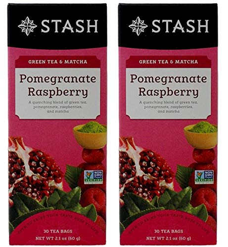 Stash Pomegranate Raspberry Green Tea & Matcha, 30 Count Tea Bags in Foil (Pack of 2) ()
