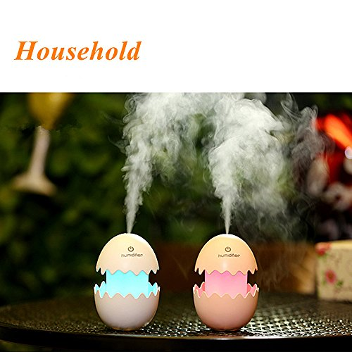 Mini Humidifier,Stansock 100ML Cute Egg Shape Design Portable USB Diffuser DC 5V Air Purifier with LED Light Mist for Home Office Car (White)