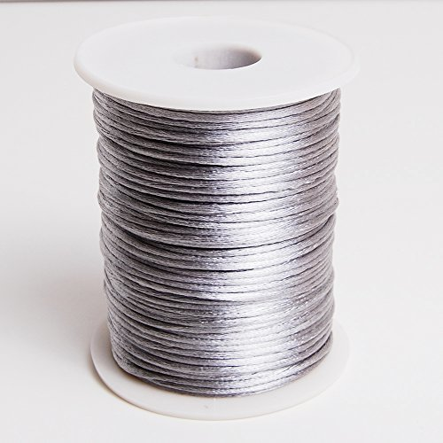 Silver 2mm x 100 yards Rattail Satin Nylon Trim Cord Chinese ()