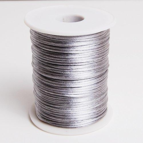 Silver 2mm x 100 yards Rattail Satin Nylon Trim Cord Chinese Knot (2mm Satin Rat Tail Cord)