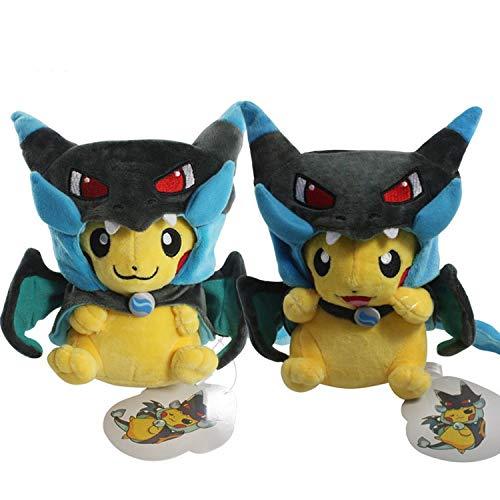 PampasSK Stuffed & Plush Animals - Fashion 2 Style Pikachu Cosplay Mega Charizard X Plush Toys 25cm Kawaii Pikachu Plush Soft Stuffed Animals Toys for Kids 1 PCs