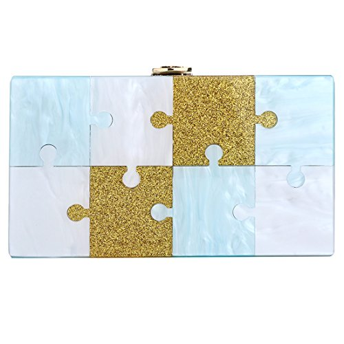 Clutch Evening Women Design Blue Glitter Jigsaw Bags Acrylic Purse Bag Handbags for dq0awvxg
