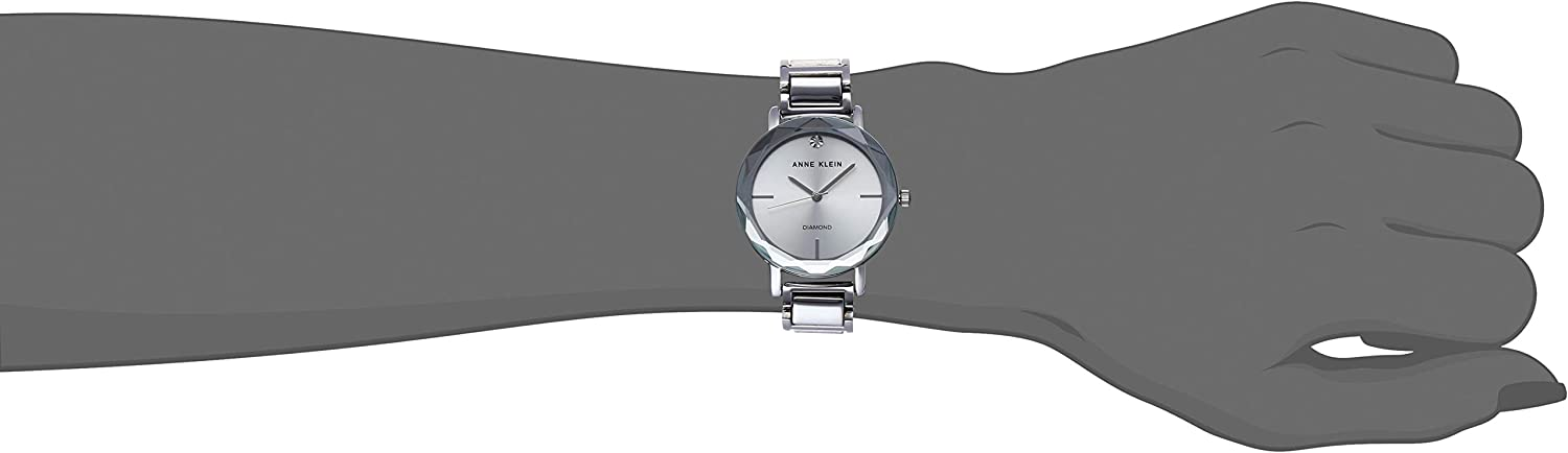 Anne Klein Women's Diamond Dial Bracelet Watch with Faceted Lens Silver